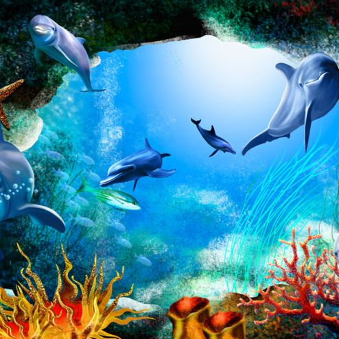 обои в детскую Фотообои 3д дельфины