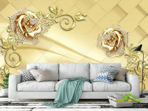 3Д обои Фотообои  Золотые брошки на коричневом фоне