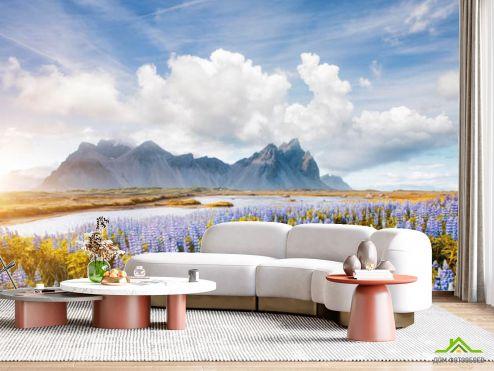 в гостиную Фотообои Цветочная поляна в горах