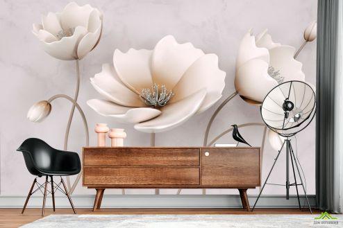 3Д  Фотообои Стереоскопические бежевые цветы