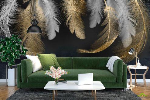 Черные  Фотообои Золотые перья 3д
