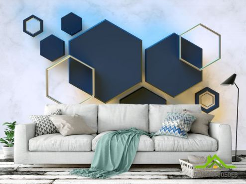 3Д обои Фотообои Черные шестиугольники
