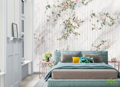 Фотообои в спальню по выгодной цене Фотообои Цветы с узором
