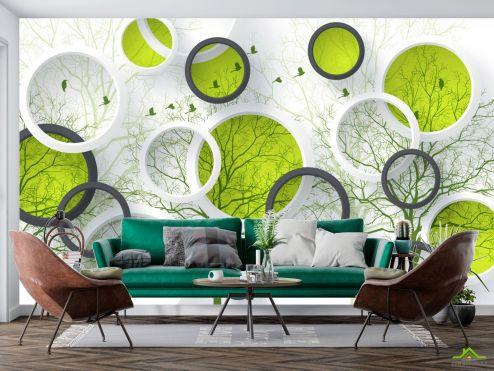 стереоскопические Фотообои  Круги и зеленые деревья купить
