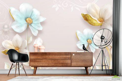 3Д барельеф Цветы барельеф с узорами