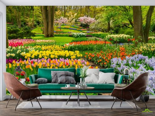 Фотообои Природа по выгодной цене Фотообои разноцветная цветочная поляна