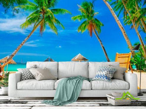 обои Пляж Фотообои Шезлонг, пальмы, пляж