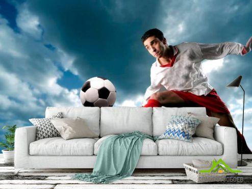 обои Спорт Фотообои Футболист с мячом