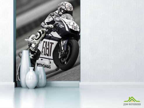 обои Транспорт Фотообои черно-белый мотоциклист