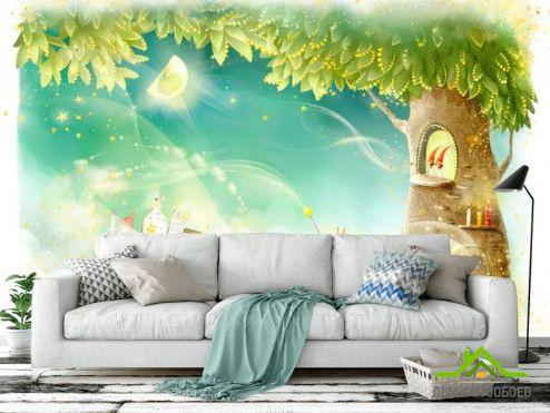 Зеленые обои Фотообои Сказачное дерево