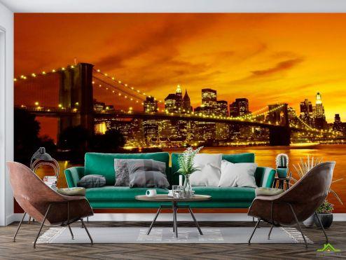 Нью Йорк Фотообои Ночной мост Бруклина
