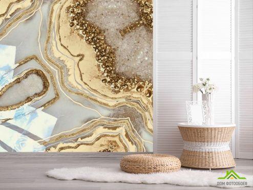 обои Fluid art Фотообои Золотой флюид с камнями