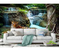Фотообои тигр у водопада