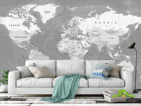 Черно-белые обои Фотообои карта
