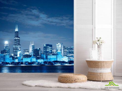 ночной город Фотообои New York в синем