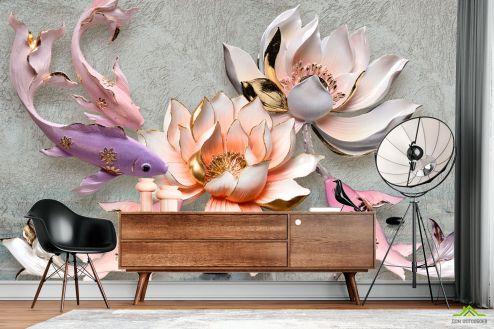 3Д  Фотообои Керамические лотос и рыбка