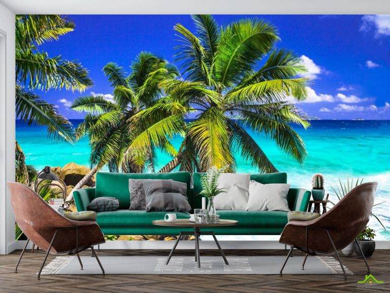 Фотообои две пальмы над голубым морем