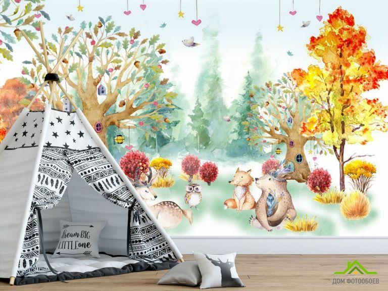 Фотообои Акварельный лес для детской
