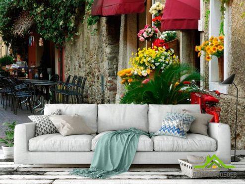 обои Улицы Фотообои Кафе на улочке с цветами