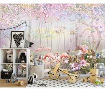 Фотообои Лес и фламинго