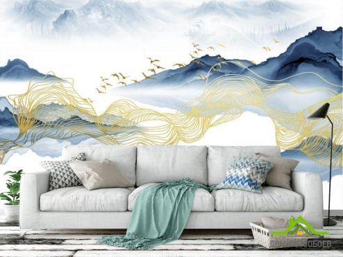 обои Абстракция Фотообои Волны из синей и золотой абстракции