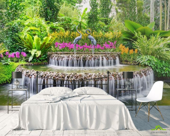Фотообои фонтан с цаплями