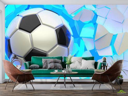 Спорт Фотообои мяч разрушает стену купить