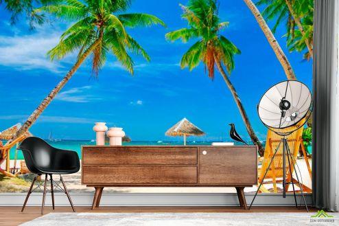 Пляж Фотообои Шезлонг, пальмы, пляж