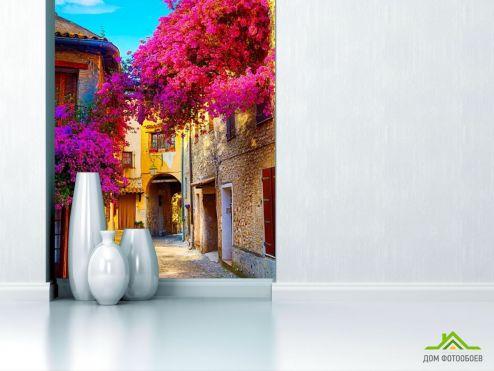 Улицы Фотообои Узкая улочка с цветами