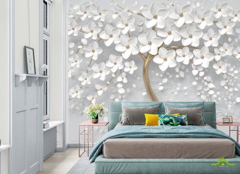 в спальню Фотообои 3д белое дерево
