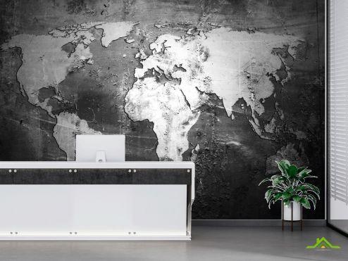 в офис Фотообои Карта на чёрном