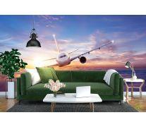 Фотообои самолёт и закат