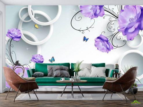 3Д  Фотообои Фиолетовые цветы с кругами купить