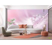 Фотообои Перо с росой на розовом фоне