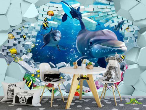 Фотообои в детскую по выгодной цене Фотообои 3д дельфины