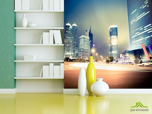 обои Современный город Фотообои Вечер, многоэтажки, свет