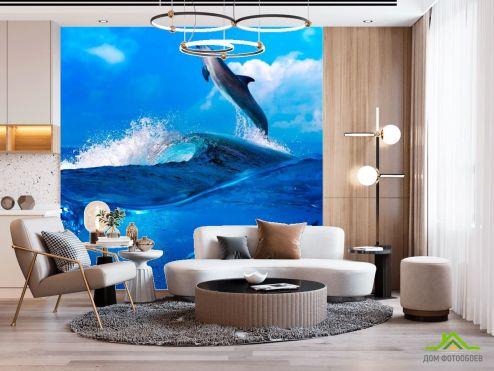 Дельфины Фотообои Дельфины на волнах