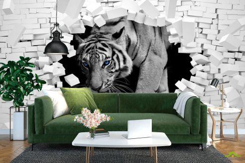 Фотошпалери Тварини Фотошпалери Тигр із кам'яної стіни