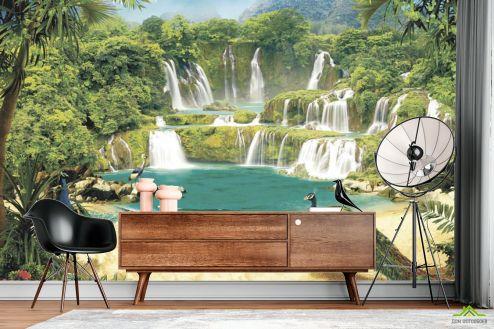 Восточный стиль  Фотообои Водопад с павлинами