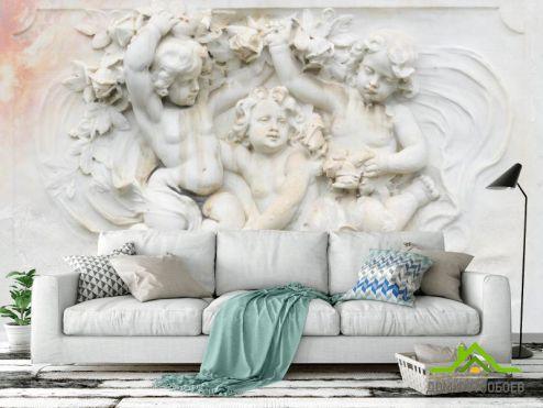 обои 3D барельеф Фотообои Ангелочки барельеф