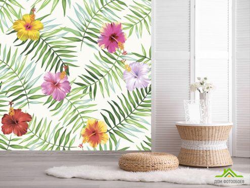 обои тропические листья Фотообои Листья папоротника и гибискус