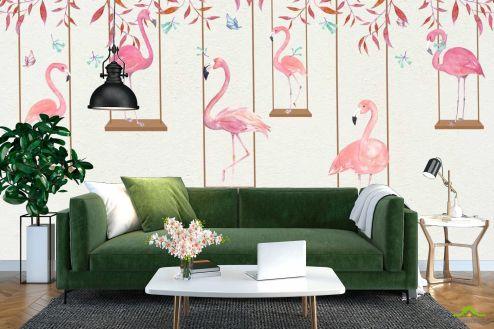 с Фламинго Фотообои Фламинго на качелях купить