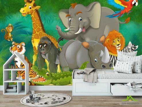 обои в детскую Фотообои Животные в джунглях
