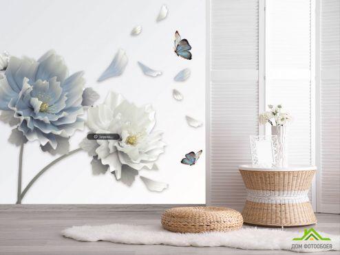 Фотообои Голубые 3д цветы