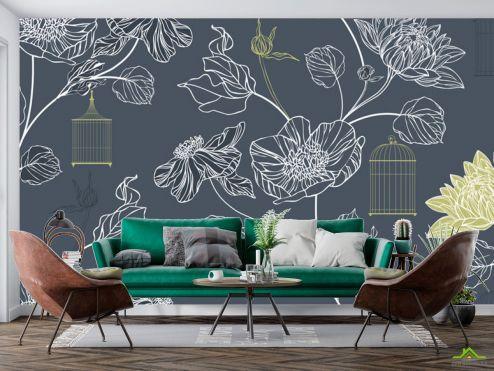 в скандинавском стиле Фотообои Векторные цветы