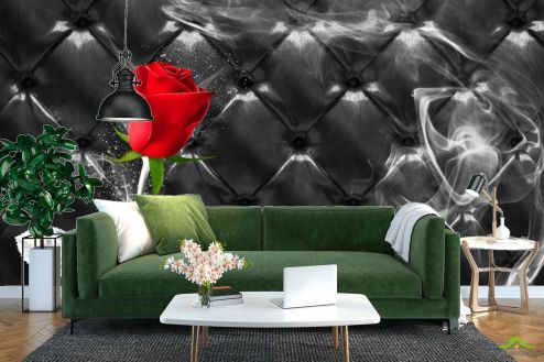 Цветы Фотообои Красная роза на фоне