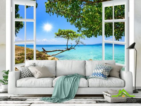 обои Вид из окна Фотообои Вид из окна на море