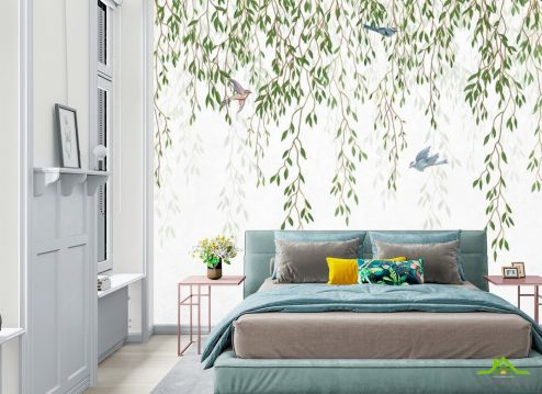 фотошпалери в спальню Фотошпалери гілки листяні зі стелі