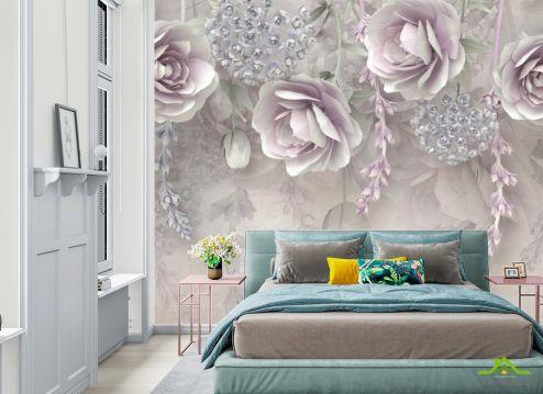 Фотообои в спальню по выгодной цене Фотообои Фиолетовые 3д цветы