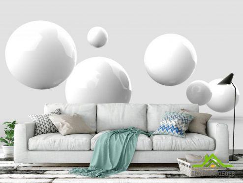 обои Геометрия Фотообои белые гладкие шары